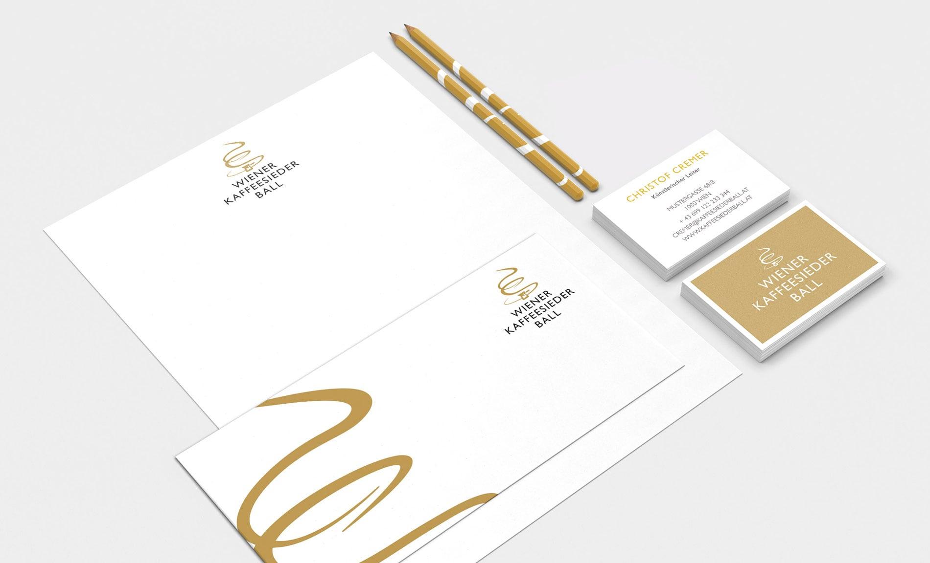Wiener Kaffeesiederball – Print Design für Briefpapier und Visitenkarten