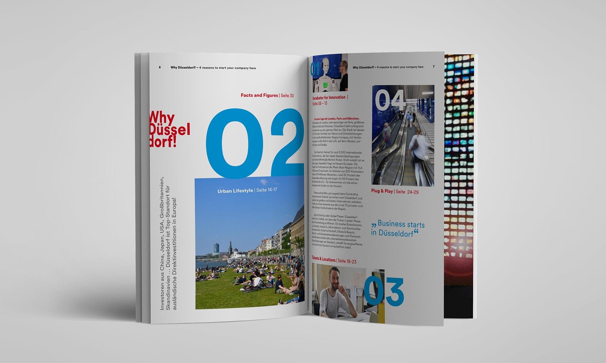 Ein Claim für Düsseldorf – Brand Design für Booklet – Doppelseite – Content