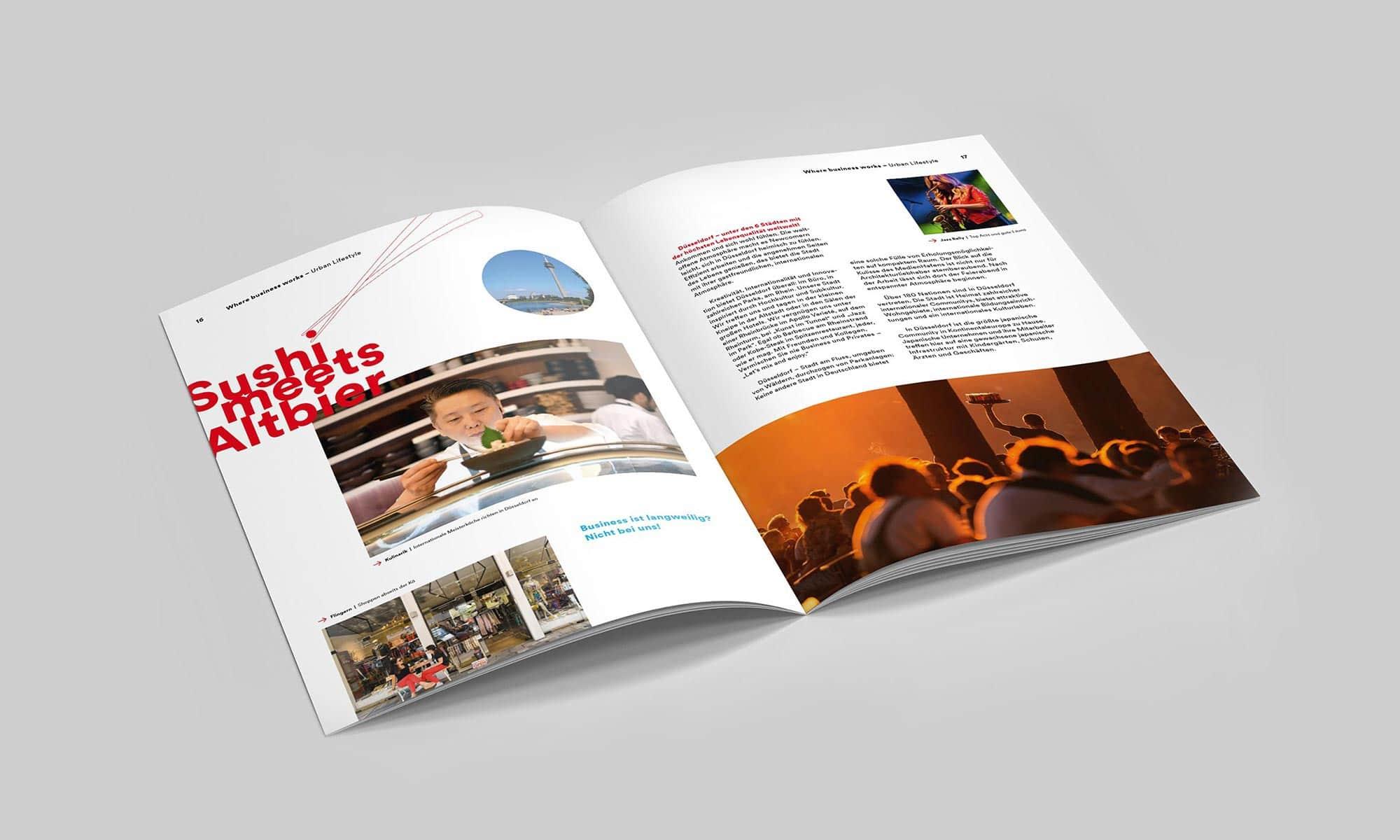 Ein Claim für Düsseldorf – Brand Design für Magazin – Doppelseite – Sushi