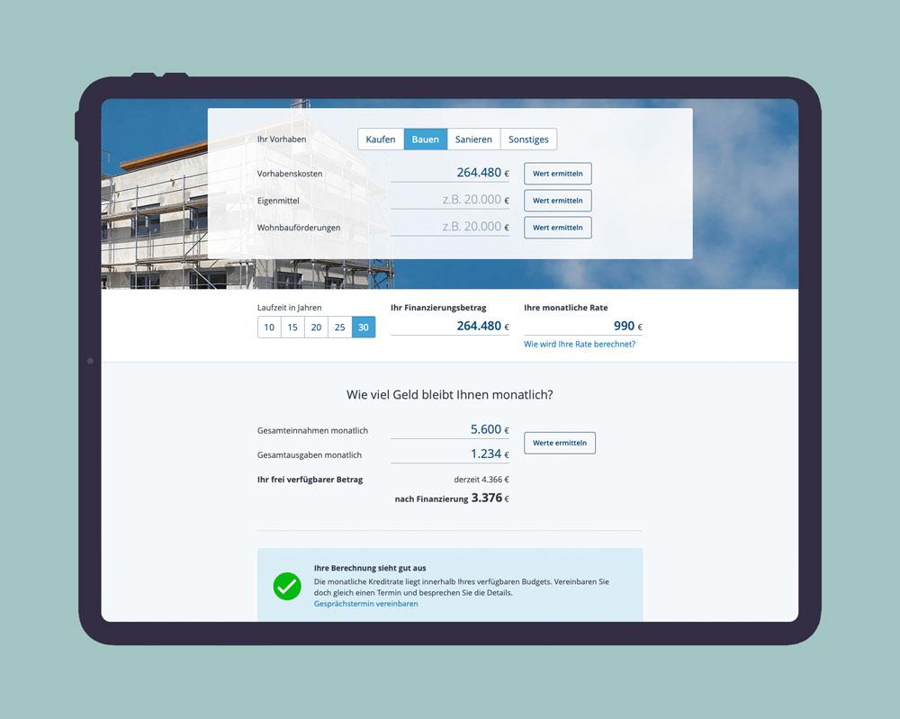Wohnkreditrechner Design & Frontend Entwicklung