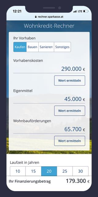 Wohnkredit-Rechner Frontend Entwicklung
