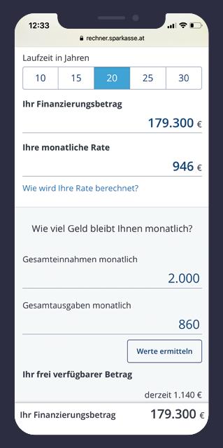 Wohnkredit-Rechner für Erste Bank und Sparkassen - Frontend Entwicklung