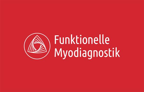 FMD – Logo Design – Negative auf rotem Hintergrund