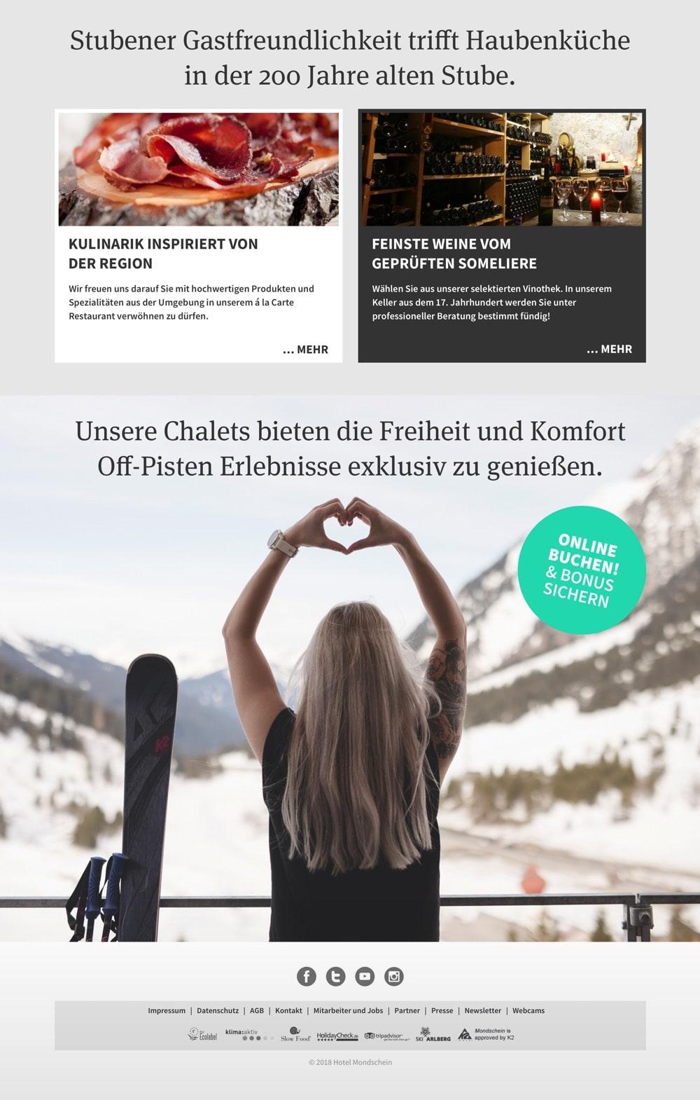 Hotel Mondschein – Webdesign – Landingpage mit Footer