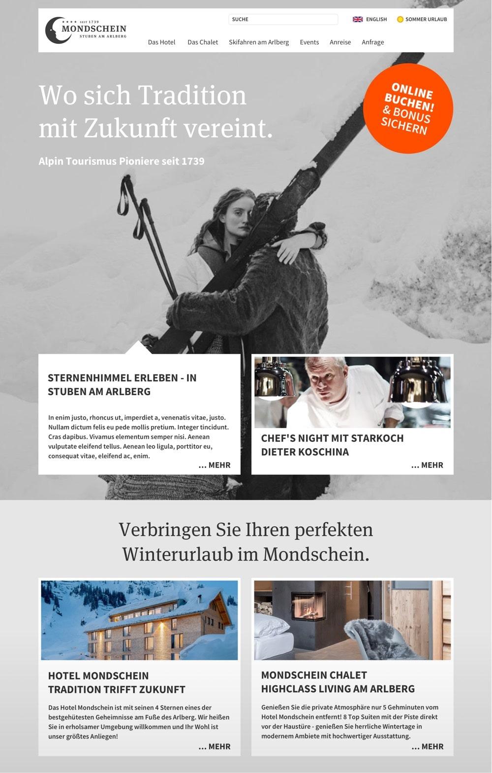 Hotel Mondschein – Webdesign – Landingpage mit Header