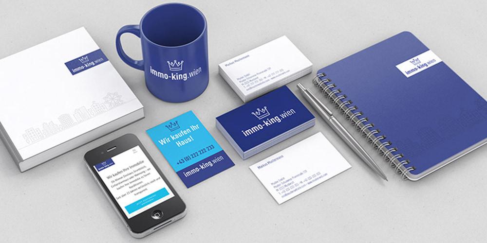 Immo-king – Branddesign für diverse Drucksorten