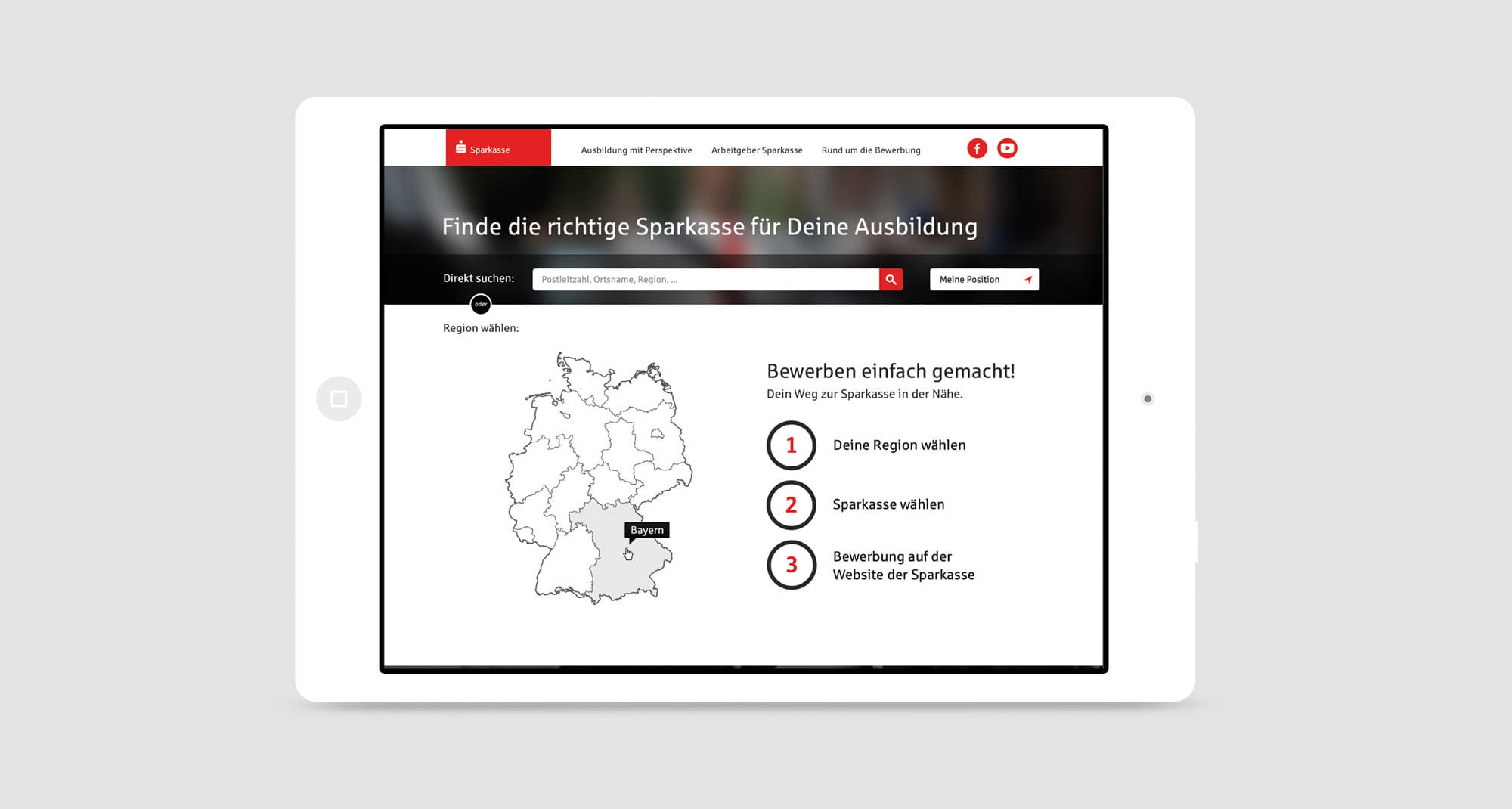 Sparkasse – Website Design für Tablet Devices