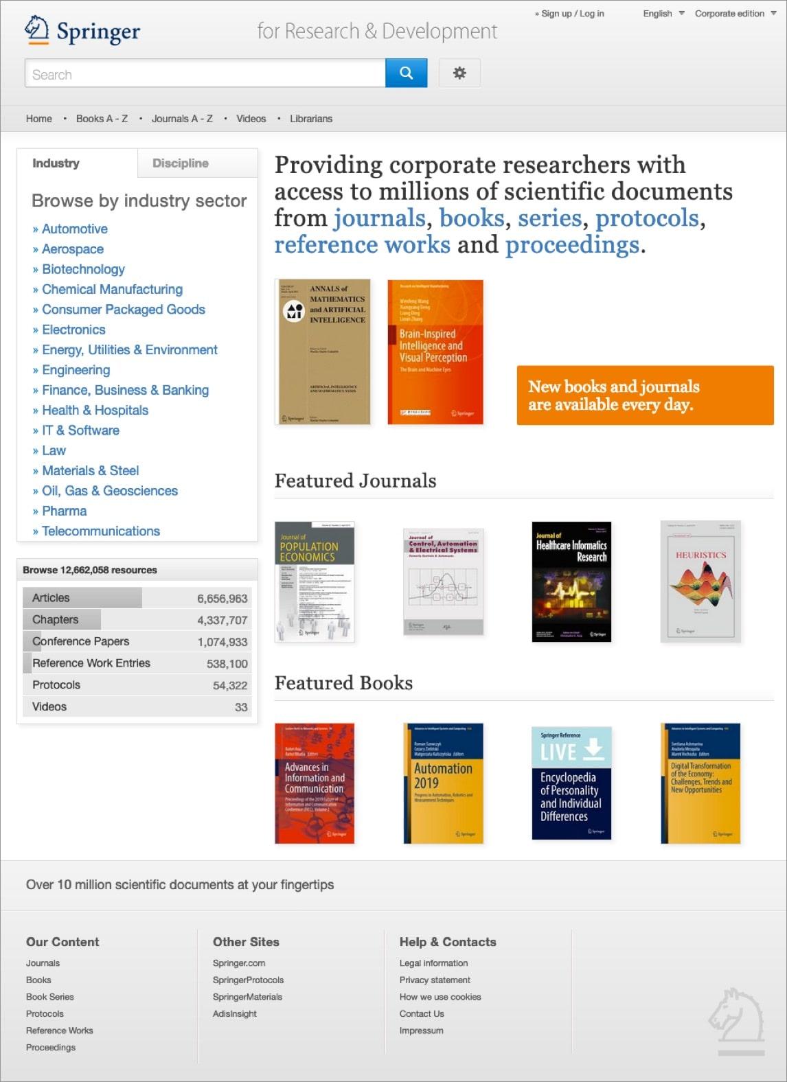 Springer Verlag – Webdesign