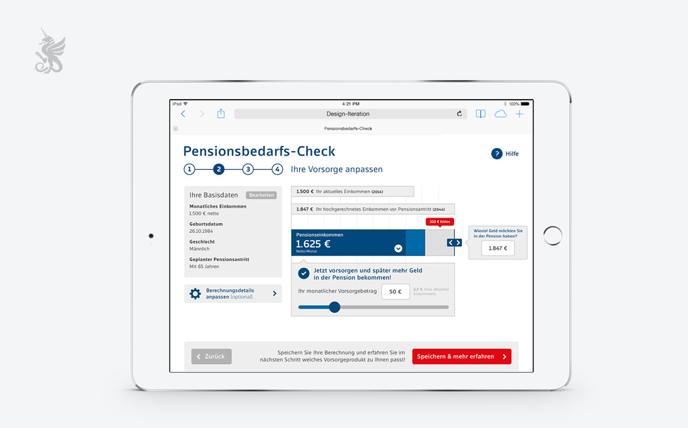 Rapid Prototyping Mock-Up eines Checkout Screens