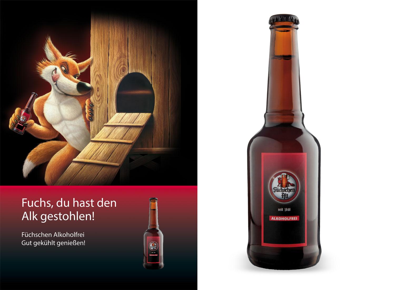 Füchschen Bier Alkoholfrei Plakat Flasche