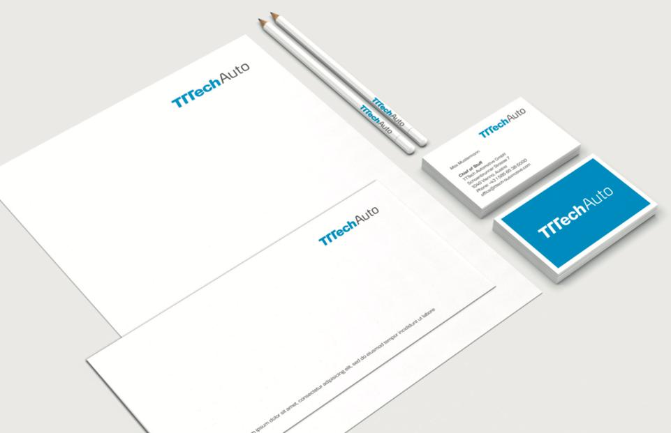 TTTech – Design für Drucksorten – Briefpapier Visitenkarten