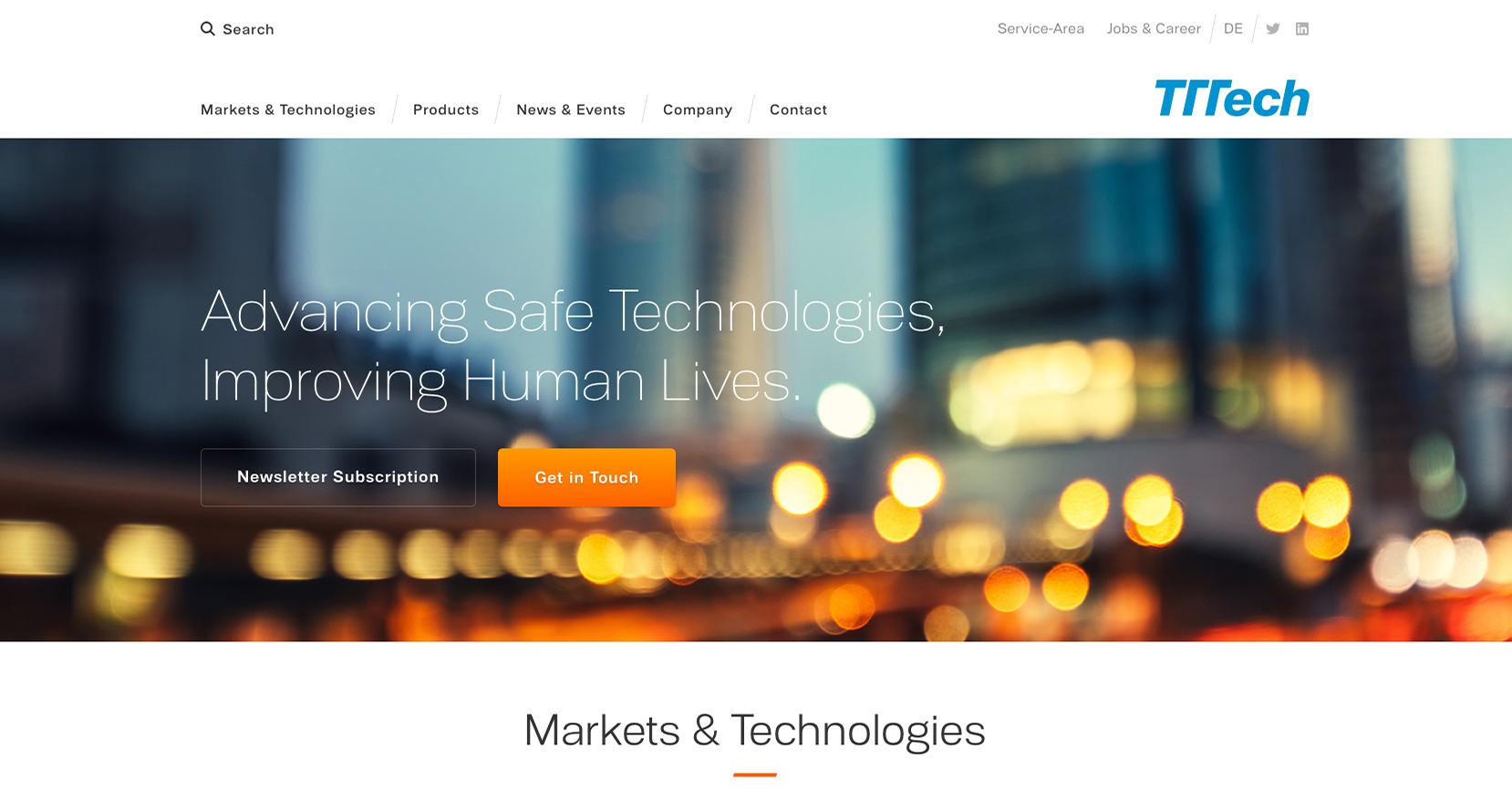 TTTech – Design für Website Sujet