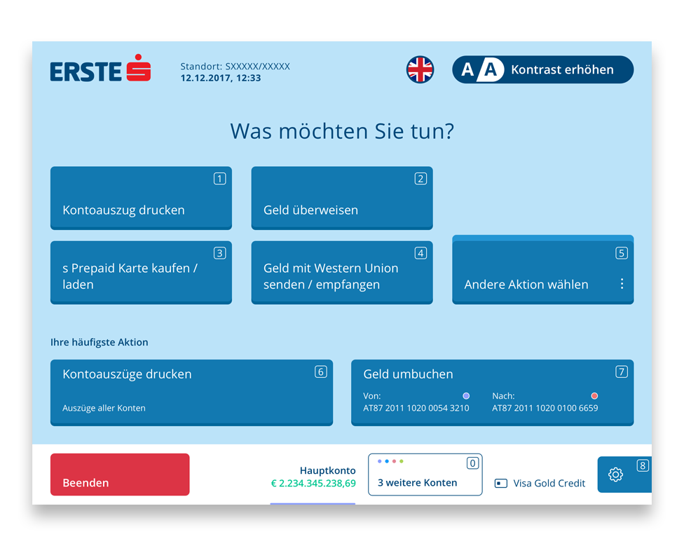SB Erste Bank Main Menu Screen