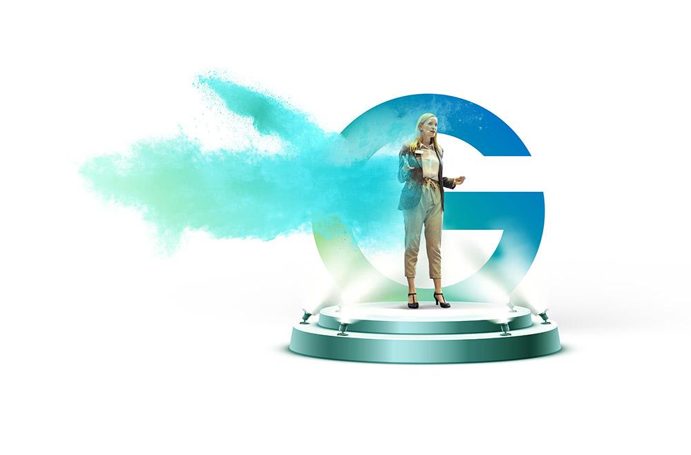 Hero-G mit Bühne und Sprecherin