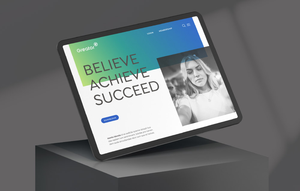 Screen mit Website